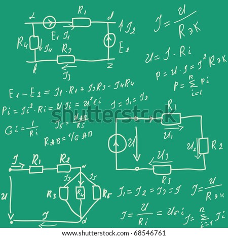 Formulas in lesson of electricity.Vector illustration.