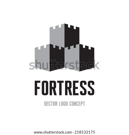 Fortress - creative logo sign concept. Castle tower abstract illustration. Vector logo template.  - stock vector