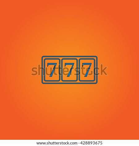 Fortune 777. Blue flat icon with black stroke on orange background. Collection concept vector pictogram for infographic project and logo - stock vector
