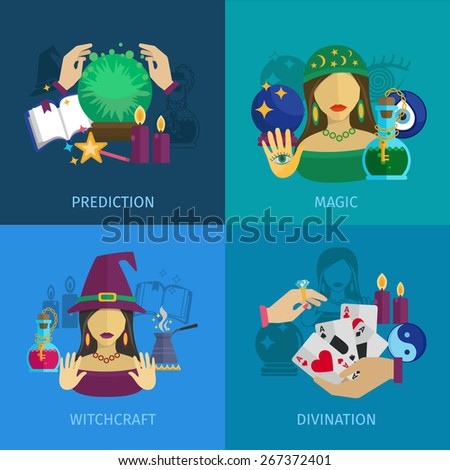 Fortune teller design concept set with magic prediction witchcraft and divination flat icons isolated vector illustration - stock vector