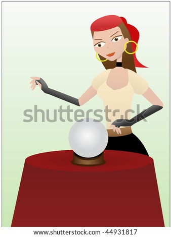 Fortune teller gypsy standing over crystal ball - stock vector
