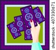 Fortune-teller holds in hand tarot card. Vector. - stock photo