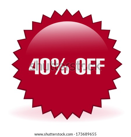 Forty Percent Discount Sticker - stock vector