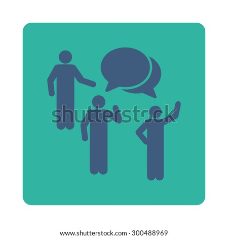 Forum icon. This flat rounded square button uses cobalt and cyan colors and isolated on a white background. - stock vector
