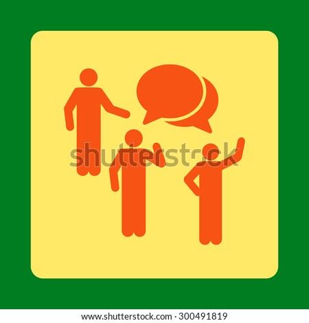 Forum icon. This flat rounded square button uses orange and yellow colors and isolated on a green background. - stock vector