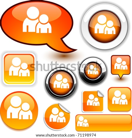 Forum vector glossy icons. - stock vector