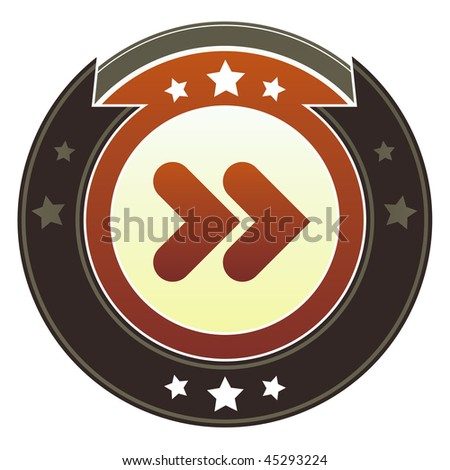Forward, next, or skip media player icon on round red and brown imperial vector button with star accents - stock vector