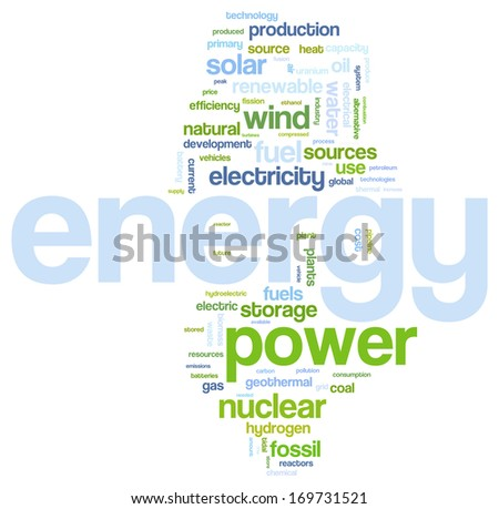 Fossil and alternative energy sources word cloud - stock vector