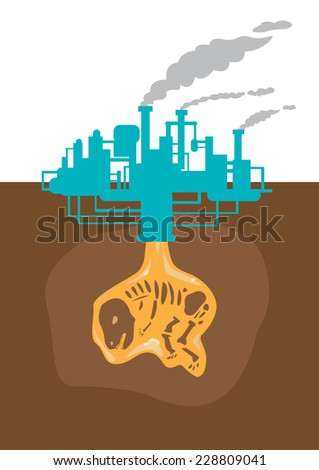 Fossil Fuel and climate change conceptual. EPS10 and Jpg.  - stock vector