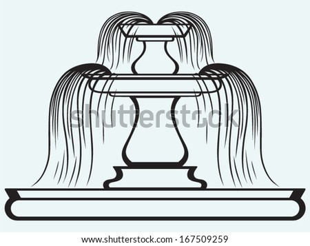 Fountain in the style of renaissance isolated on blue batskground - stock vector