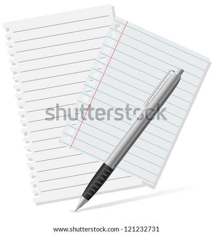 fountain pen and a pieces of paper vector illustration isolated on white background
