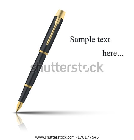 Fountain pen - isolated on white background. Photo-realistic vector. - stock vector