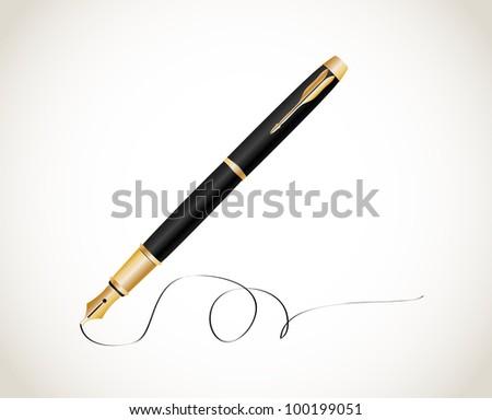 Fountain pen. Vector - stock vector