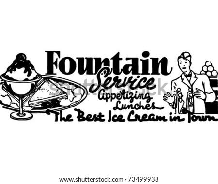 Fountain Service 3 - Retro Ad Art Banner - stock vector