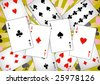 Four aces and some cards for play poker - stock vector