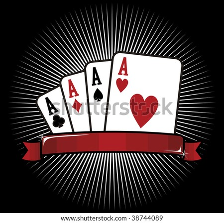 Four aces. Casino Poker Cards on black background. Vector file. - stock vector