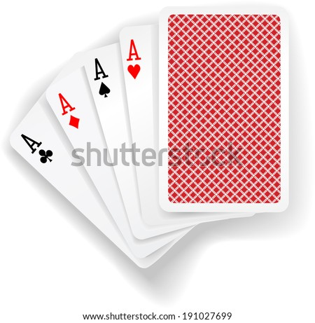 Four aces in five card poker hand playing cards with back design - stock vector