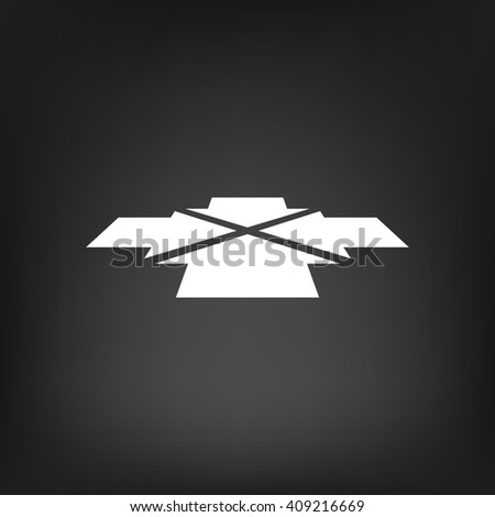 Four arrows facing each other in perspective. Flat vector icon - stock vector