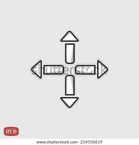 Four arrows icon. Direction indicator. Flat design with shadow.  - stock vector