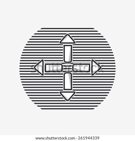 Four arrows icon. Direction indicator. Flat design with shadow. Made in Illustrator vector - stock vector