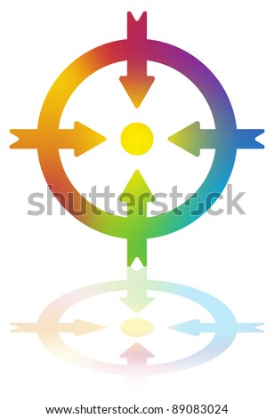 Four Arrows Pointing to a Dot Inside a Circle - stock vector