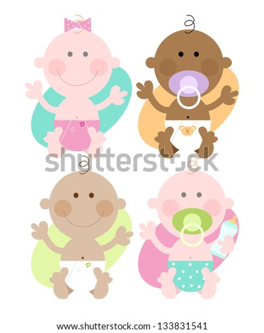 Four babies - Varied skin colors Multi ethnic babies - cute colorful characters