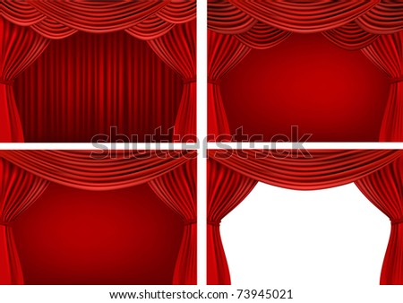 Four backgrounds with red velvet curtains. Vector illustration. - stock vector