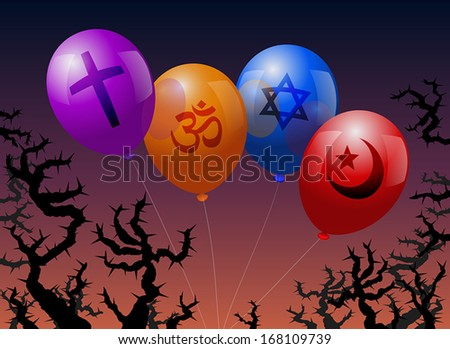 Four balloons, which are labeled with the signs of Christianity, Hinduism, Judaism and Islam. They are threatened by thorns. - stock vector