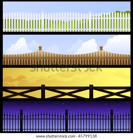 Four banners featuring fences against the sky