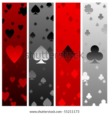 Four banners with heart spade diamond and club elements - stock vector