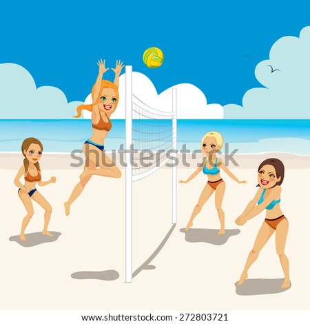 Four beautiful active women playing volleyball on the beach - stock vector