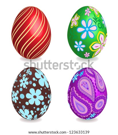 Four beautiful painted easter eggs on white background. 3D effect, shadows with blends. - stock vector