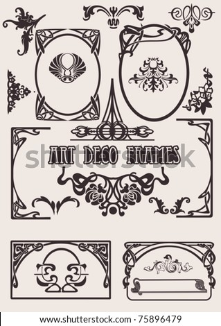 Four Black And White Art Deco Frames. Others In Portfolio. - stock vector