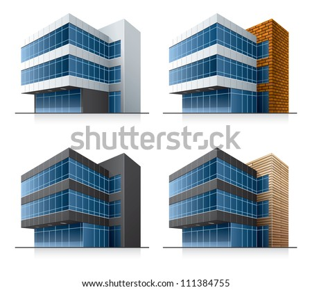 Four black and white office vector buildings in perspective view with blue glass facade in cartoon style. - stock vector