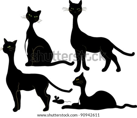 four black cats and a mouse - stock vector