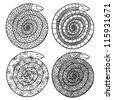 four black contour snakes - stock vector