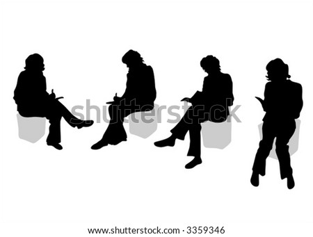 Four black silhouettes of sitting women on a white background. - stock vector