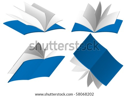 Four blue books isolated on white background - stock vector