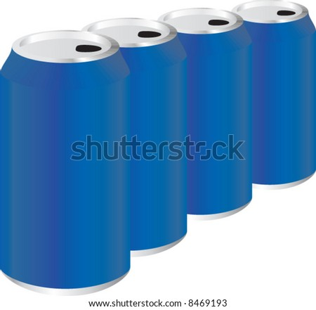 Four blue metal cans. Vector illustration