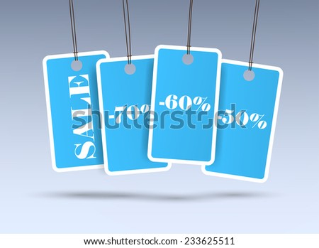 Four blue price stickers on the grey background.  - stock vector