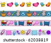 Four Border Designs Featuring Baby Things - Vector - stock vector