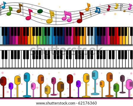 Four Border Designs of Music-related Items - Vector - stock vector