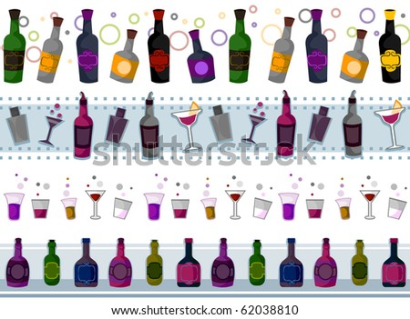 Four Border Designs of Various Drinks; Shakers and Glasses - Vector