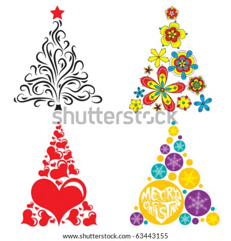 four bright christmas trees on white background - stock vector