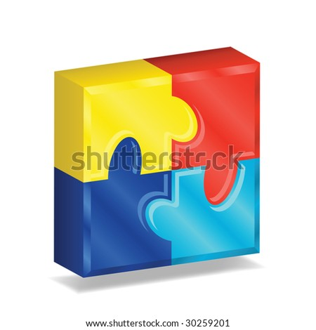 Four brightly colored puzzle pieces arranged in a three-dimensional square, contains gradient mesh. - stock vector