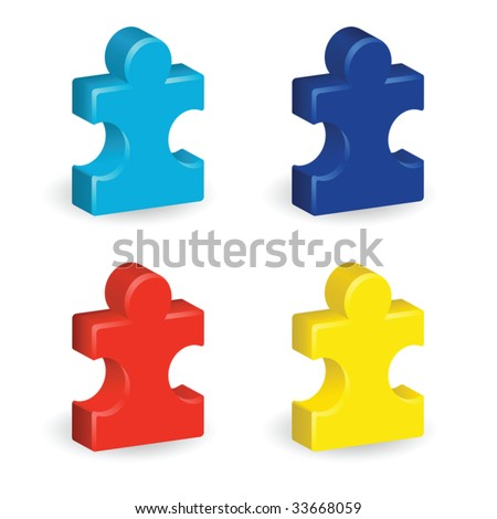 Four brightly colored, three-dimensional puzzle pieces, representing autism awareness - stock vector