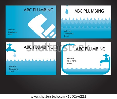 Four business card designs for plumbers and handymen - stock vector
