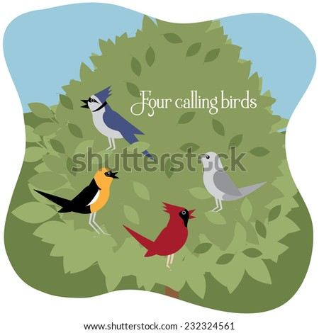 Four calling birds Twelve Days of Christmas EPS 10 vector illustration - stock vector
