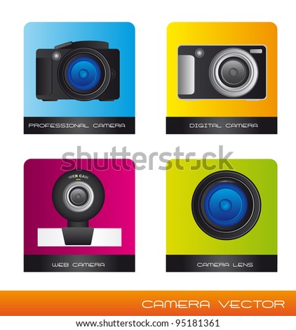 four cameras and lens over square background. vector illustration - stock vector