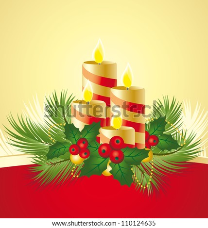 four candles decorated in a festive Christmas decoration - stock vector